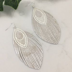 Fabulous Leather Feathery Fringe Boho Earrings